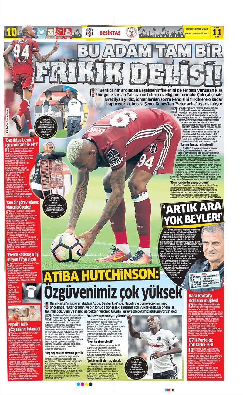 11 Ekim 2016 | Gazetelerin Beşiktaş manşetleri 8