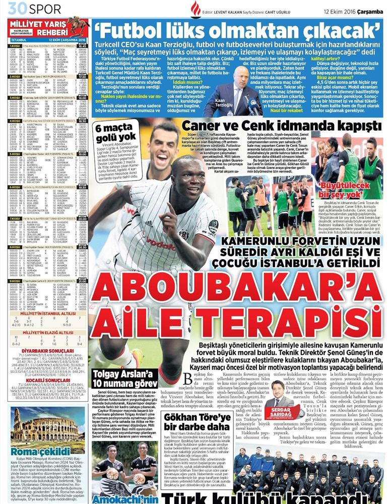 12 Ekim 2016 | Gazetelerin Beşiktaş manşetleri 11