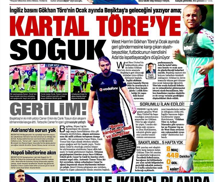 12 Ekim 2016 | Gazetelerin Beşiktaş manşetleri 4