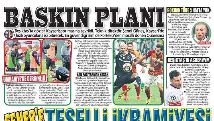 12 Ekim 2016 | Gazetelerin Beşiktaş manşetleri 5