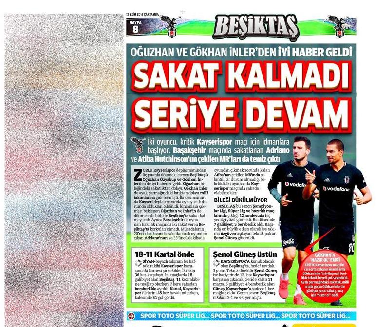 12 Ekim 2016   Gazetelerin Beşiktaş manşetleri 7