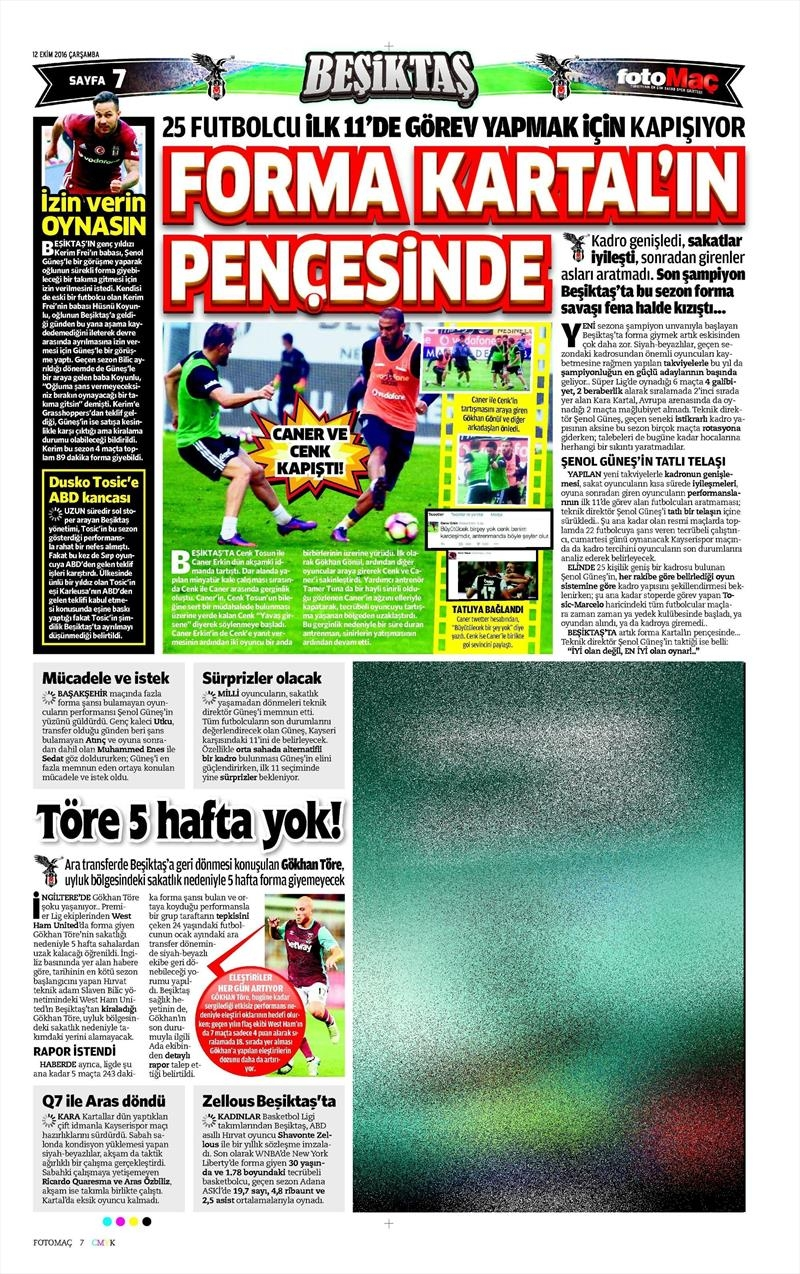 12 Ekim 2016 | Gazetelerin Beşiktaş manşetleri 8