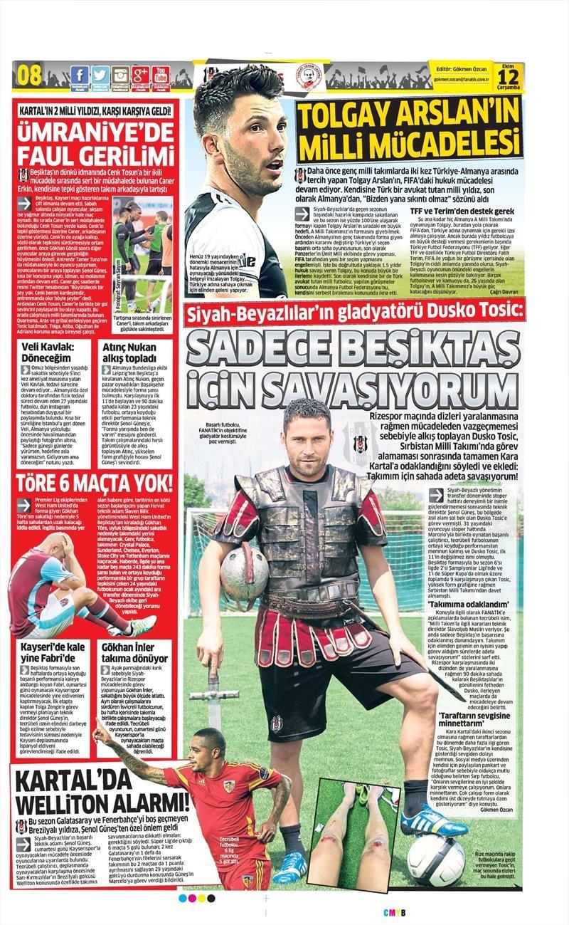 12 Ekim 2016 | Gazetelerin Beşiktaş manşetleri 9