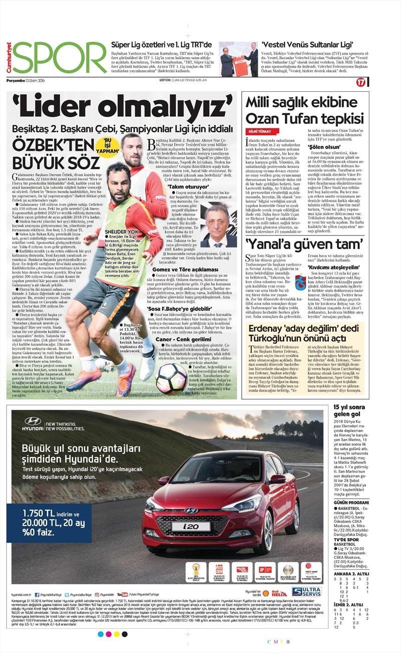 13 Ekim 2016 | Gazetelerin Beşiktaş manşetleri 1