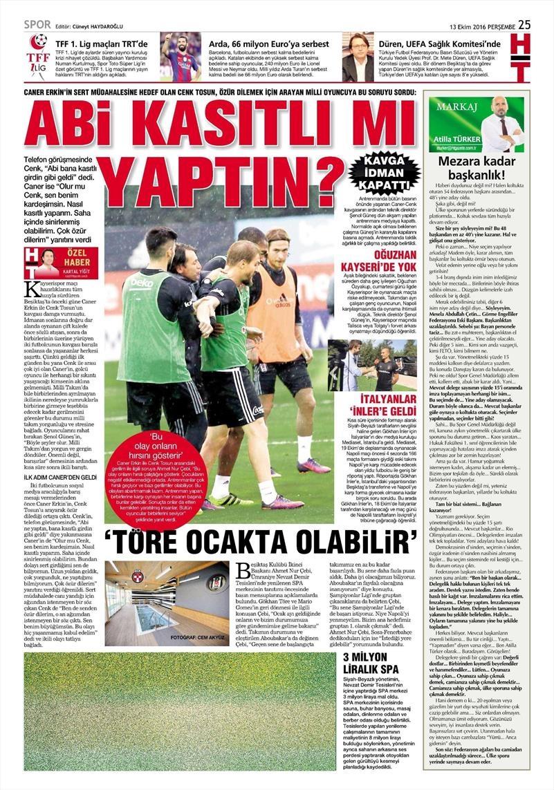 13 Ekim 2016 | Gazetelerin Beşiktaş manşetleri 10