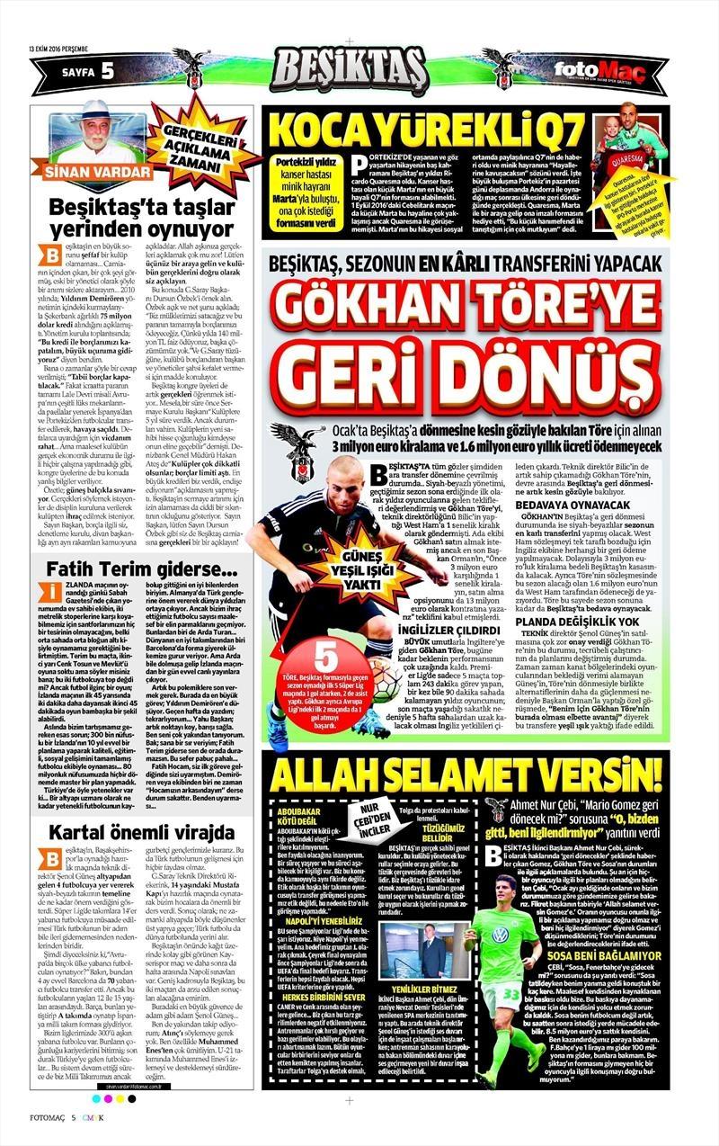 13 Ekim 2016 | Gazetelerin Beşiktaş manşetleri 12