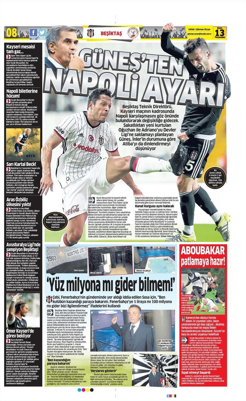 13 Ekim 2016 | Gazetelerin Beşiktaş manşetleri 14