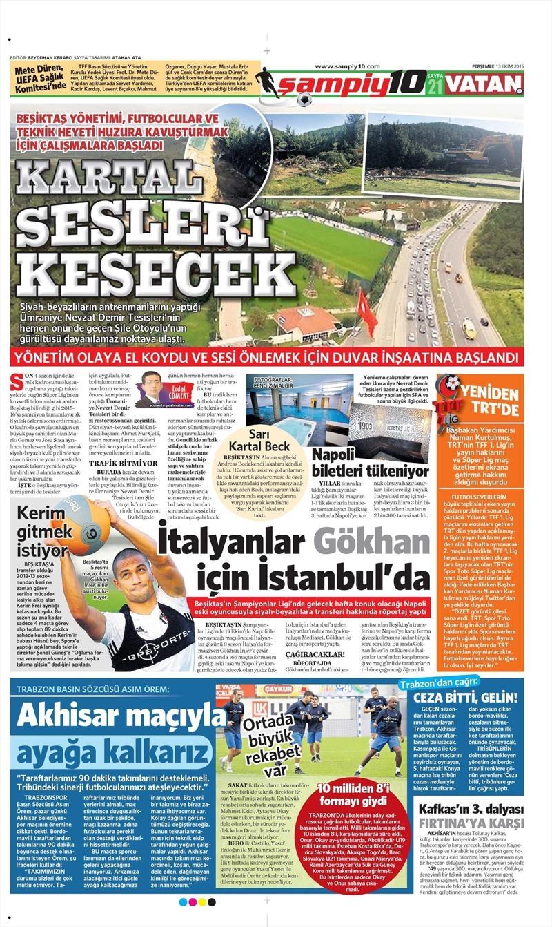 13 Ekim 2016 | Gazetelerin Beşiktaş manşetleri 2
