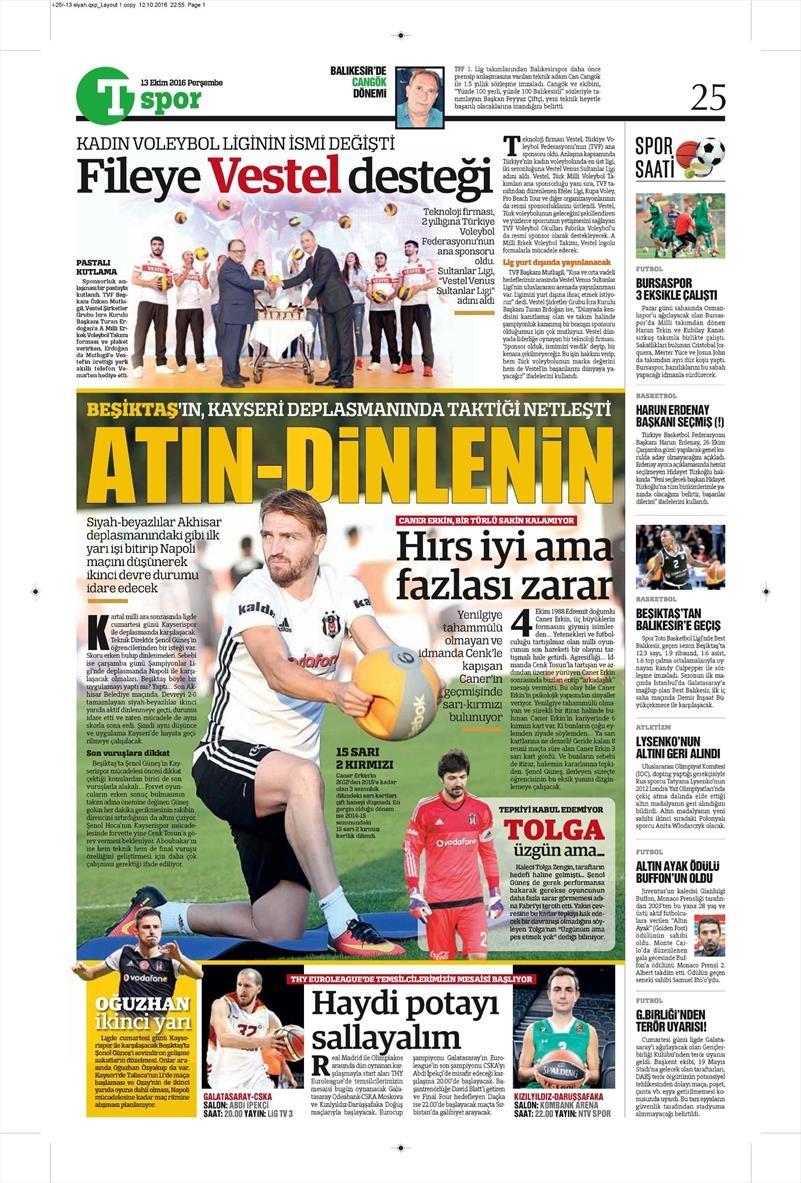 13 Ekim 2016   Gazetelerin Beşiktaş manşetleri 3