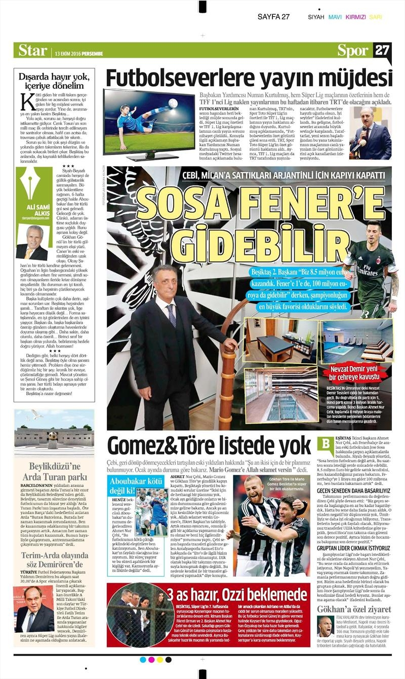 13 Ekim 2016   Gazetelerin Beşiktaş manşetleri 5