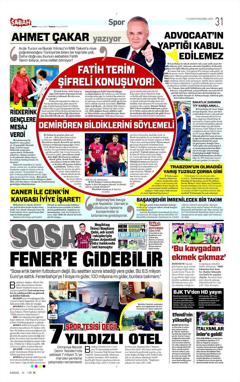 13 Ekim 2016 | Gazetelerin Beşiktaş manşetleri 6
