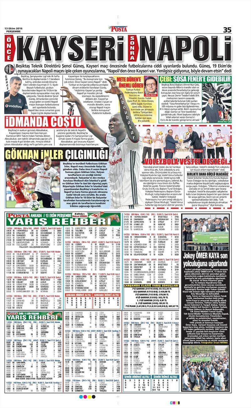 13 Ekim 2016 | Gazetelerin Beşiktaş manşetleri 7