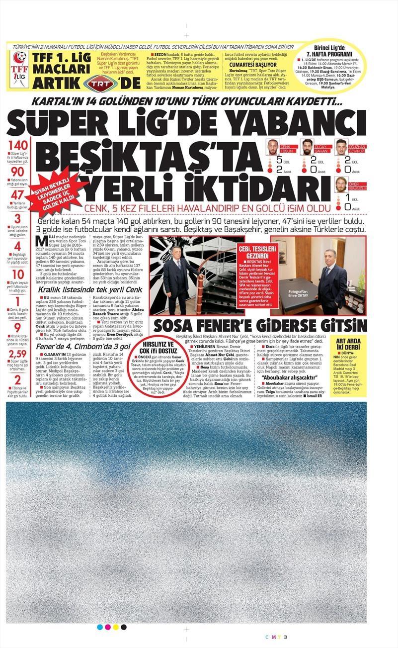 13 Ekim 2016 | Gazetelerin Beşiktaş manşetleri 8