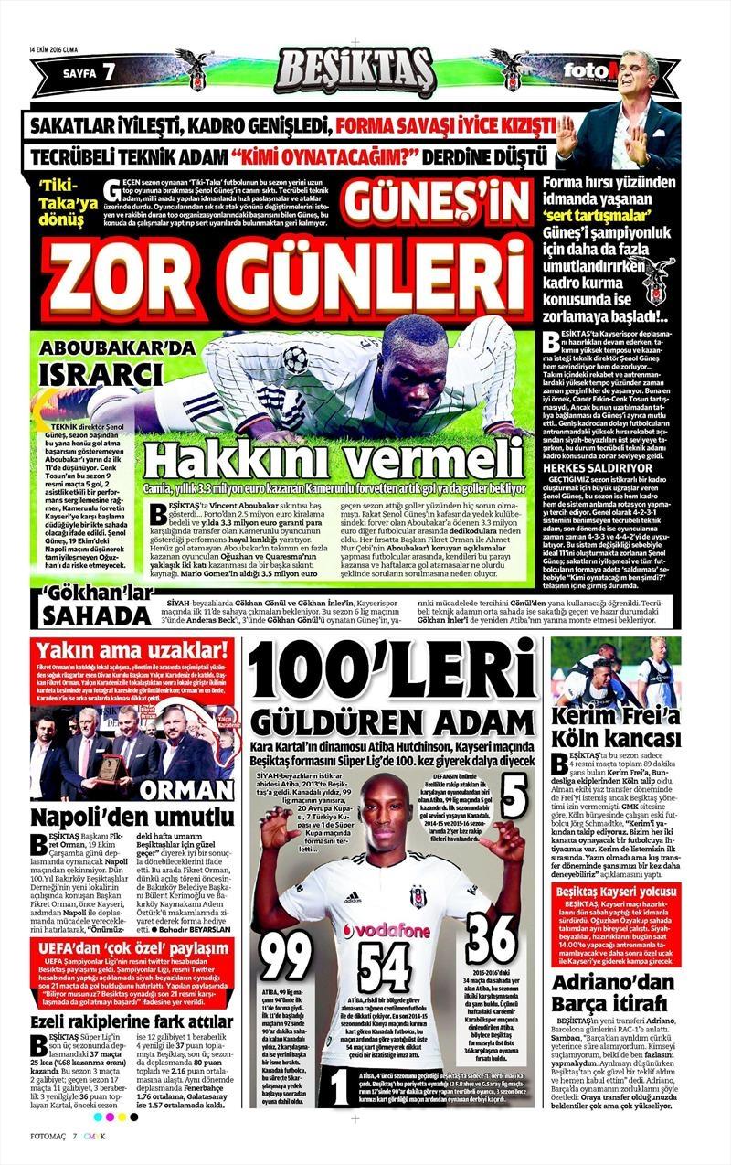 14 Ekim 2016 | Gazetelerin Beşiktaş manşetleri 10