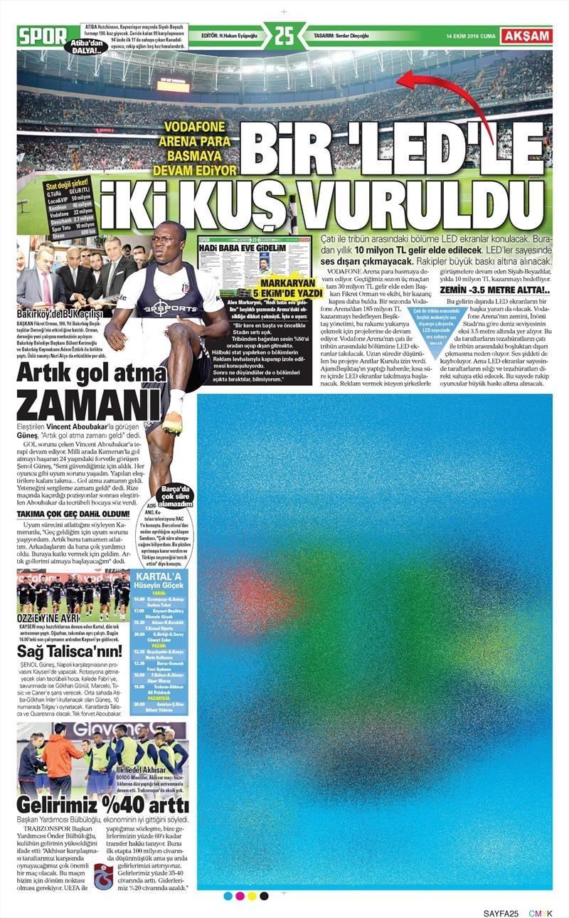 14 Ekim 2016 | Gazetelerin Beşiktaş manşetleri 11