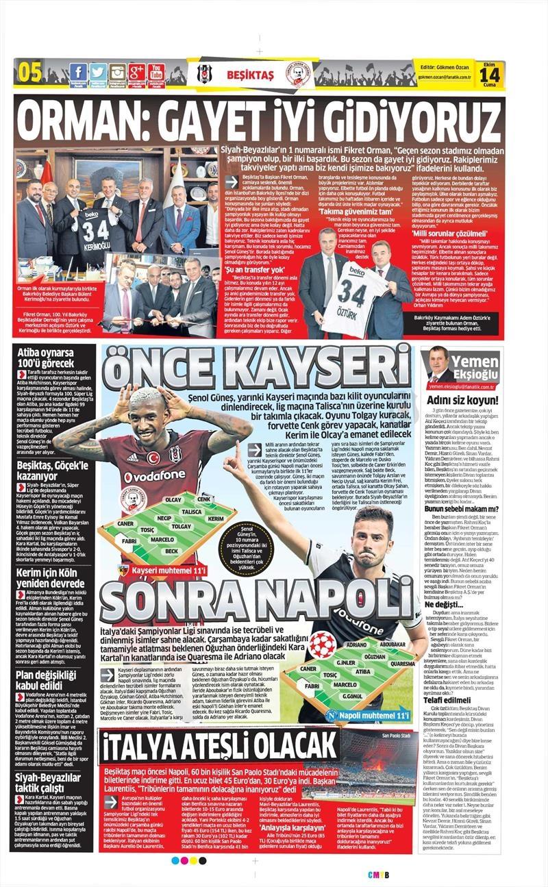 14 Ekim 2016   Gazetelerin Beşiktaş manşetleri 12