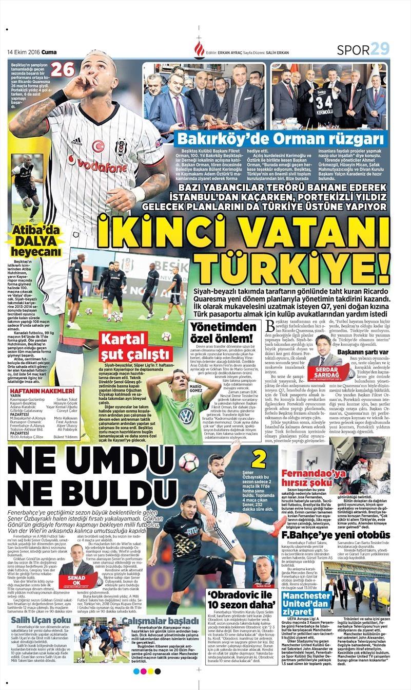 14 Ekim 2016 | Gazetelerin Beşiktaş manşetleri 6