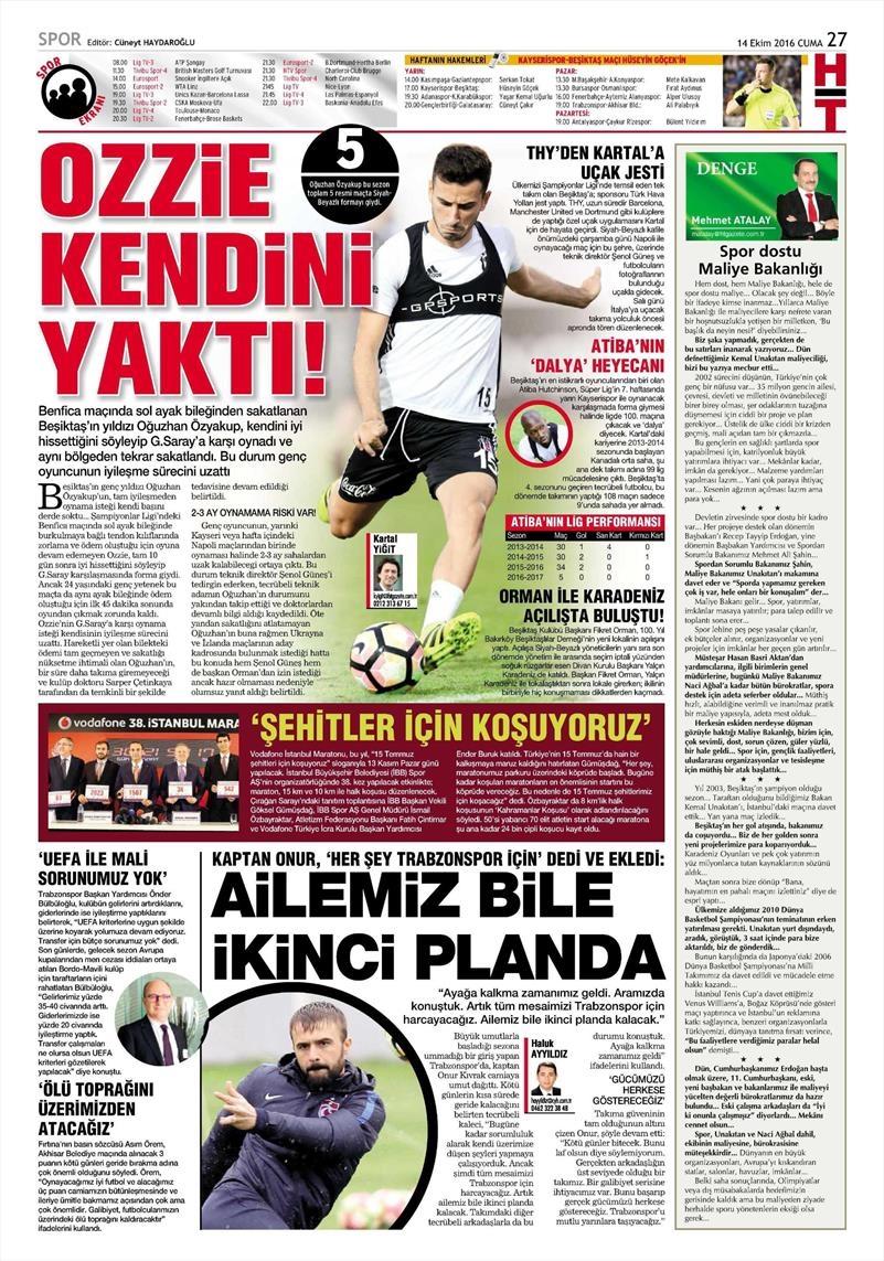 14 Ekim 2016 | Gazetelerin Beşiktaş manşetleri 8