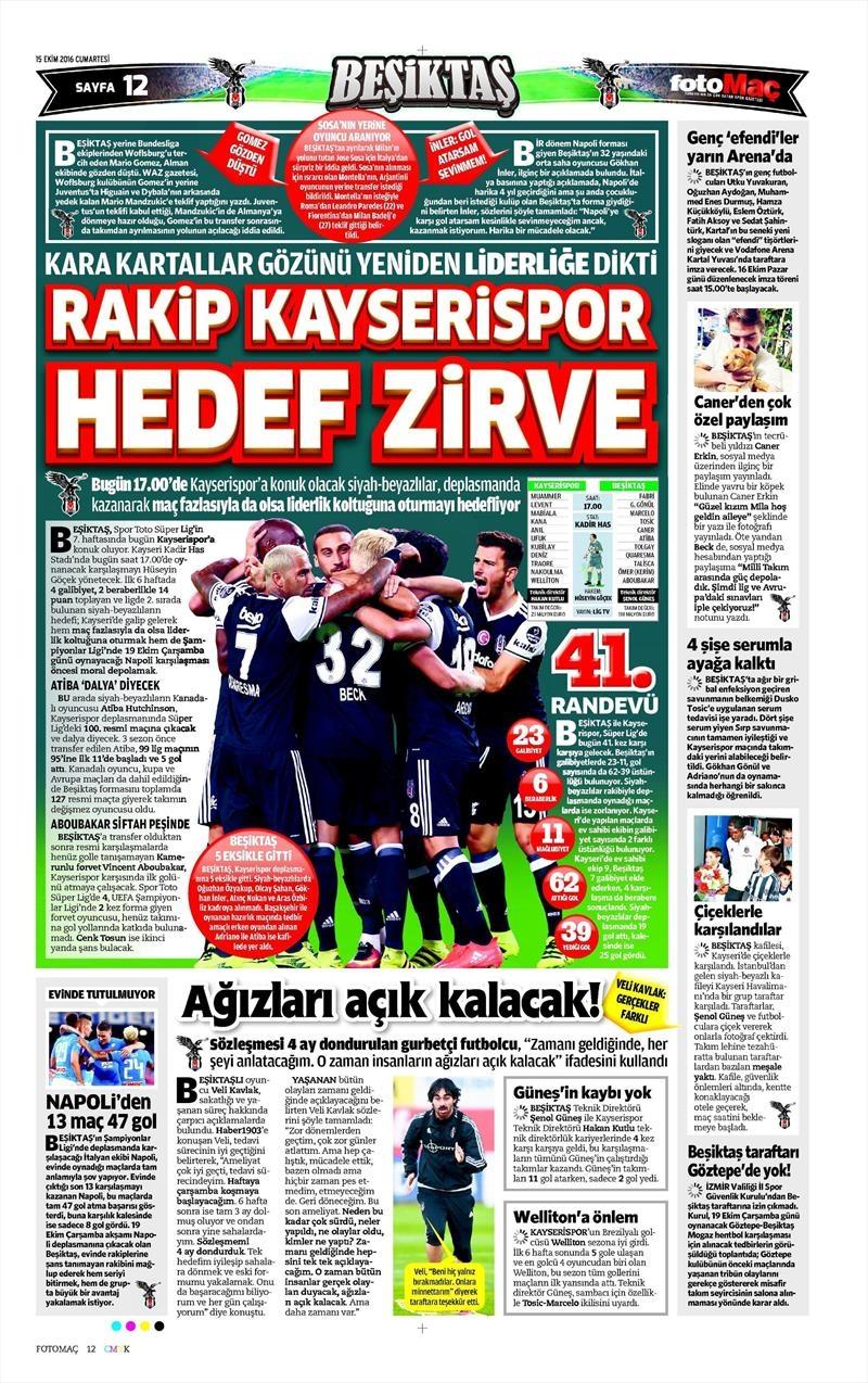 15 Ekim 2016 | Gazetelerin Beşiktaş manşetleri 10