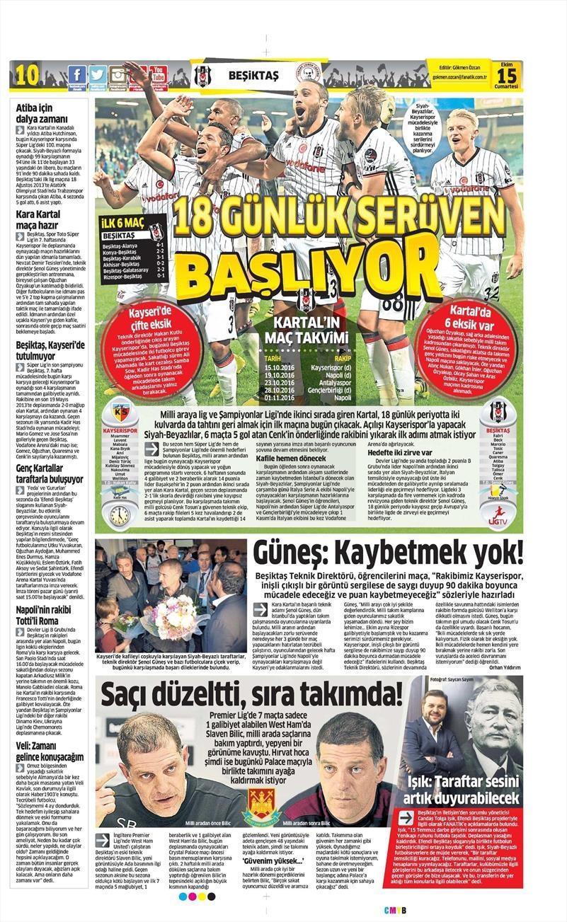 15 Ekim 2016 | Gazetelerin Beşiktaş manşetleri 11
