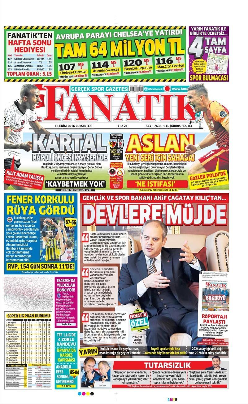 15 Ekim 2016 | Gazetelerin Beşiktaş manşetleri 12