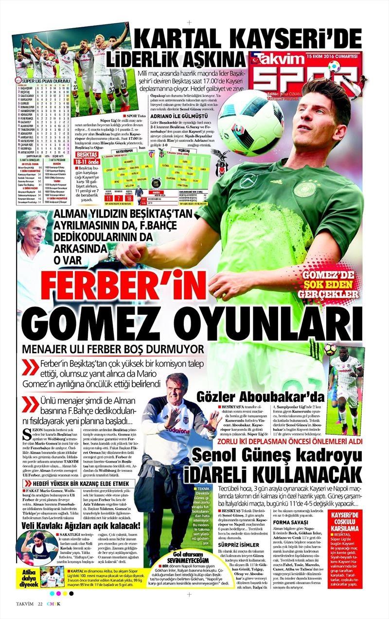 15 Ekim 2016 | Gazetelerin Beşiktaş manşetleri 3