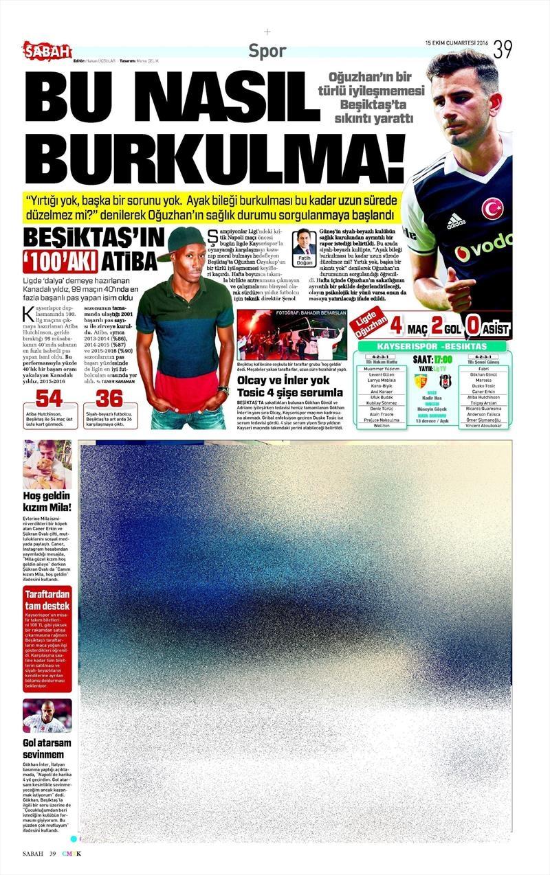 15 Ekim 2016 | Gazetelerin Beşiktaş manşetleri 4