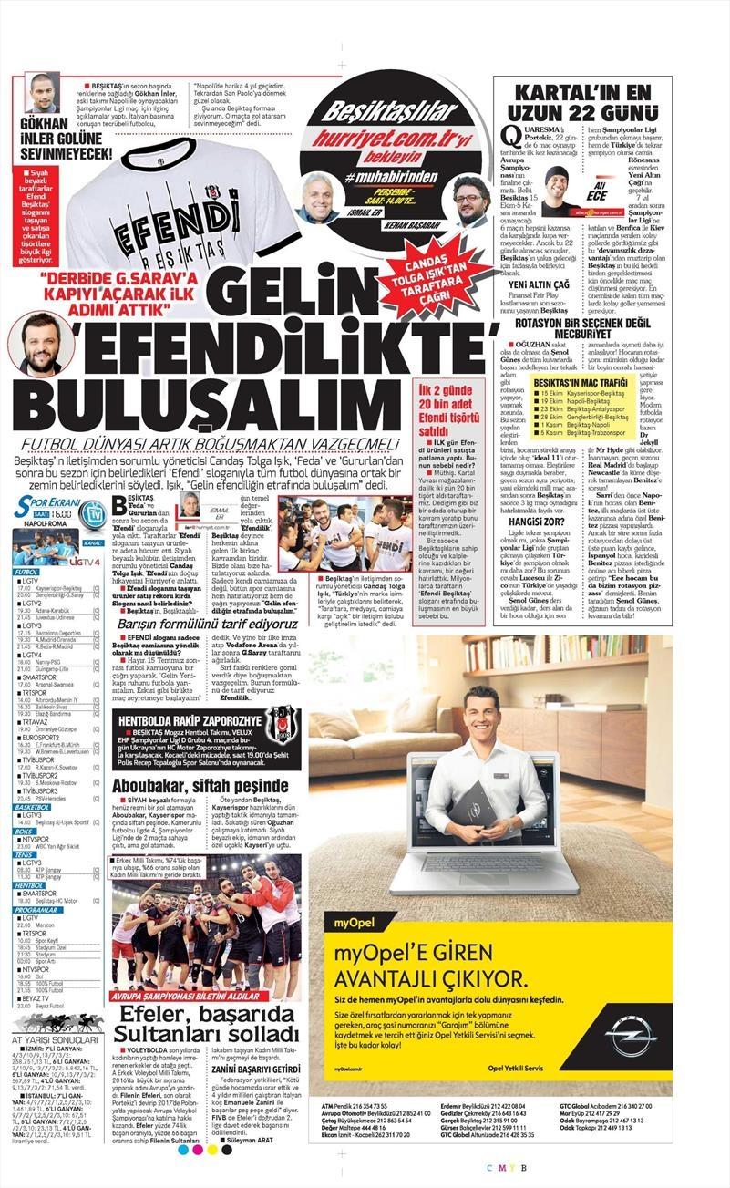 15 Ekim 2016 | Gazetelerin Beşiktaş manşetleri 6