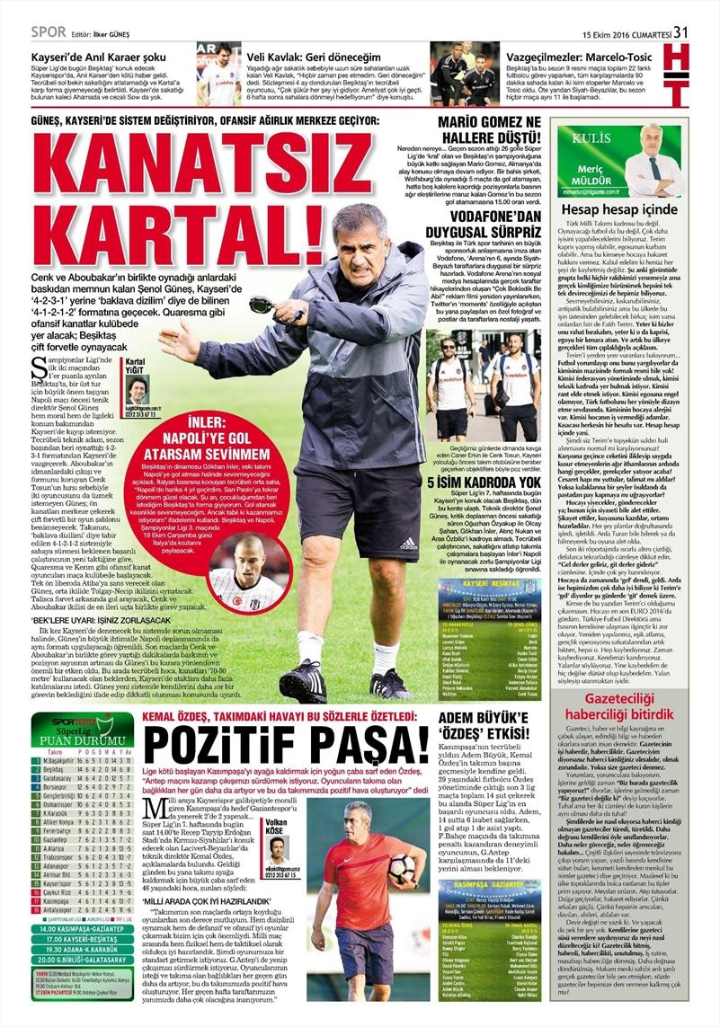 15 Ekim 2016 | Gazetelerin Beşiktaş manşetleri 7