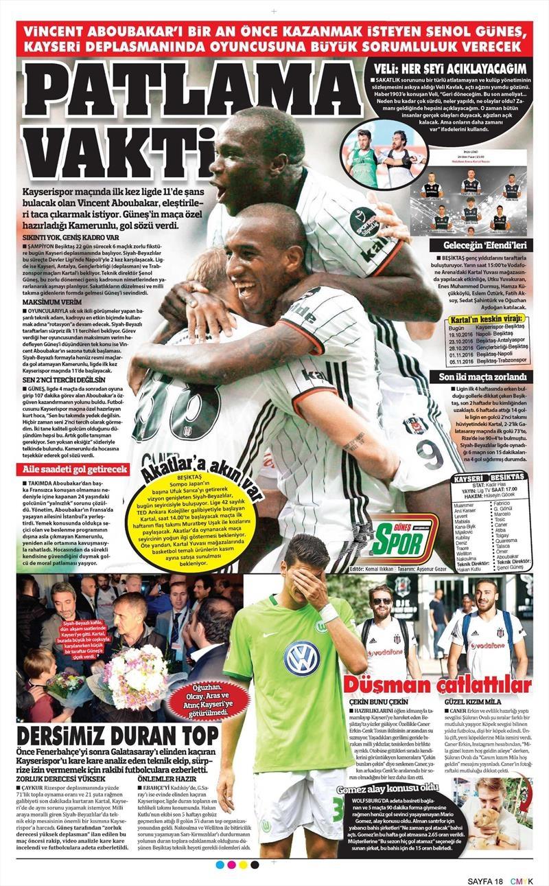 15 Ekim 2016 | Gazetelerin Beşiktaş manşetleri 8