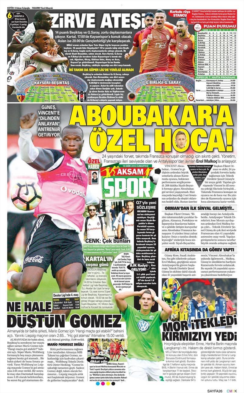 15 Ekim 2016   Gazetelerin Beşiktaş manşetleri 9