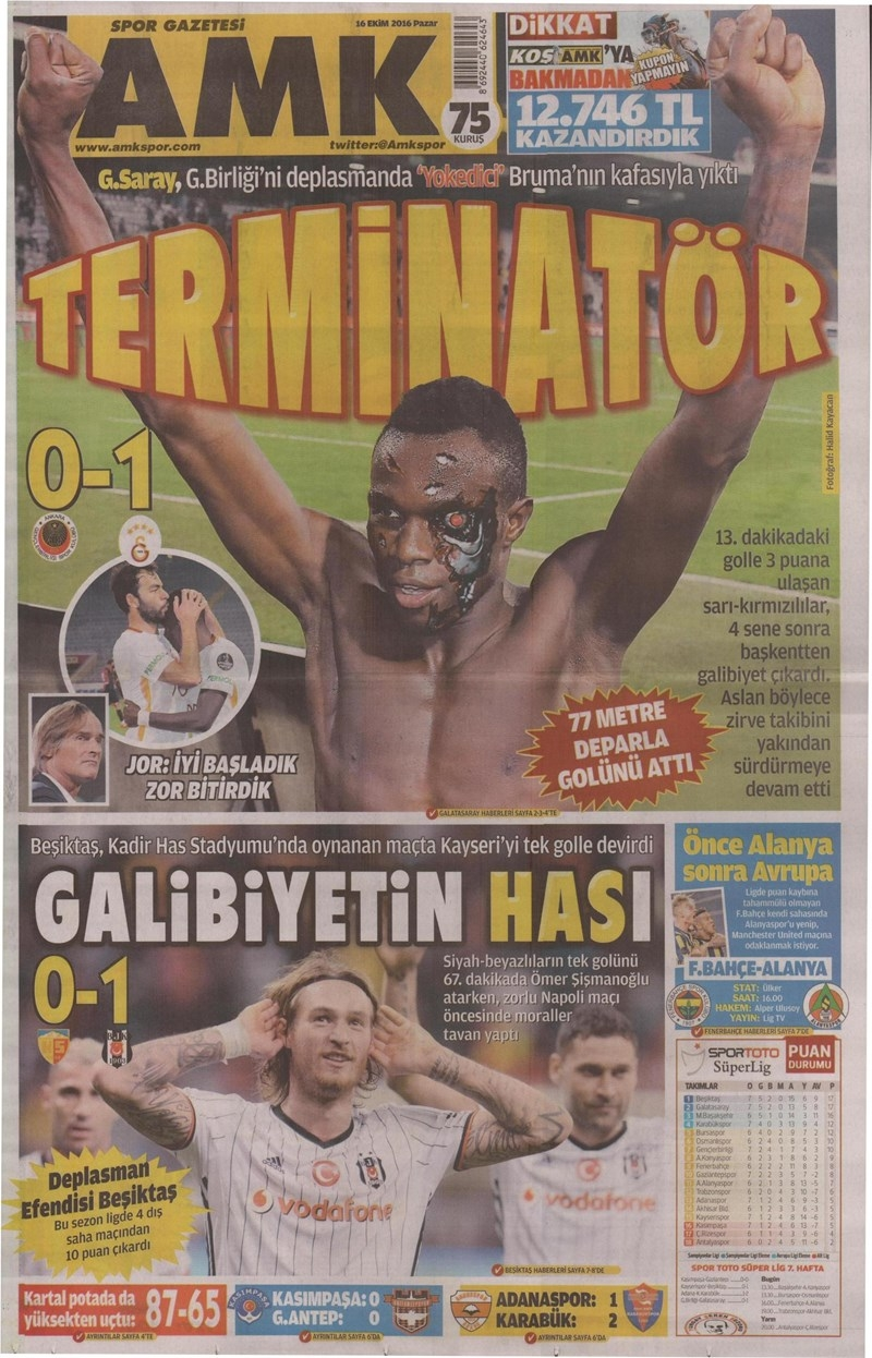 16 Ekim 2016 | Gazetelerin Beşiktaş Manşetleri 1