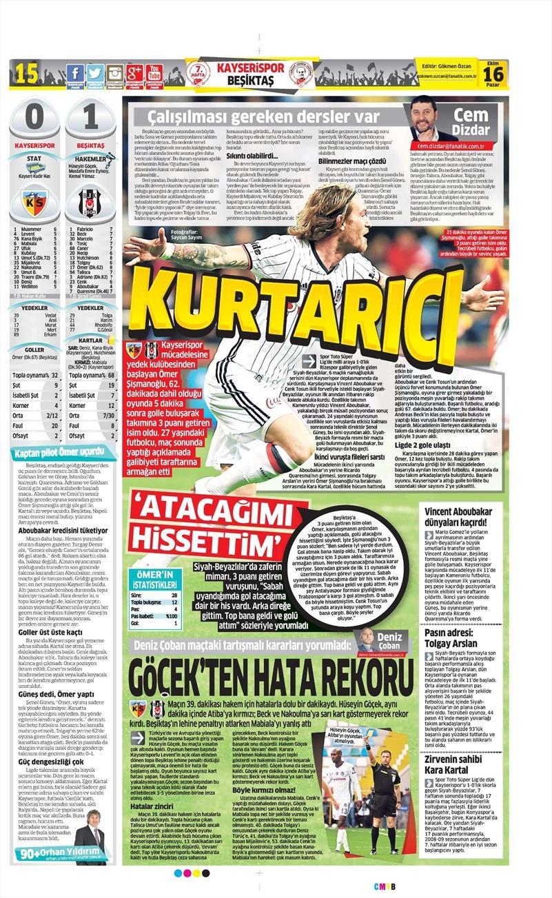 16 Ekim 2016 | Gazetelerin Beşiktaş Manşetleri 10