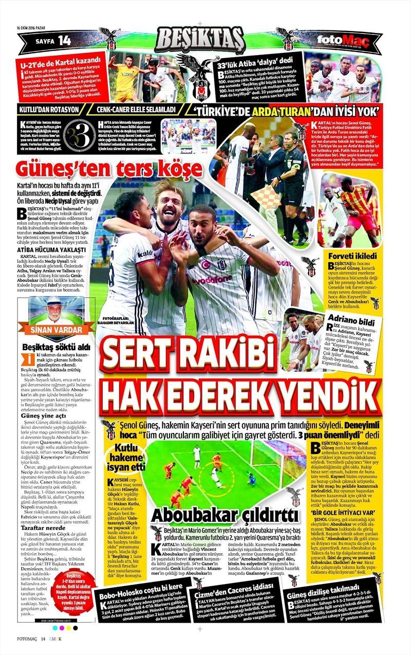 16 Ekim 2016 | Gazetelerin Beşiktaş Manşetleri 12