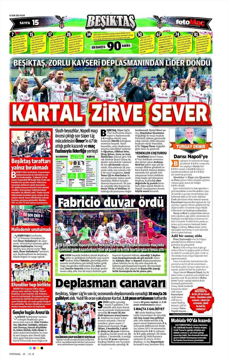 16 Ekim 2016 | Gazetelerin Beşiktaş Manşetleri 13