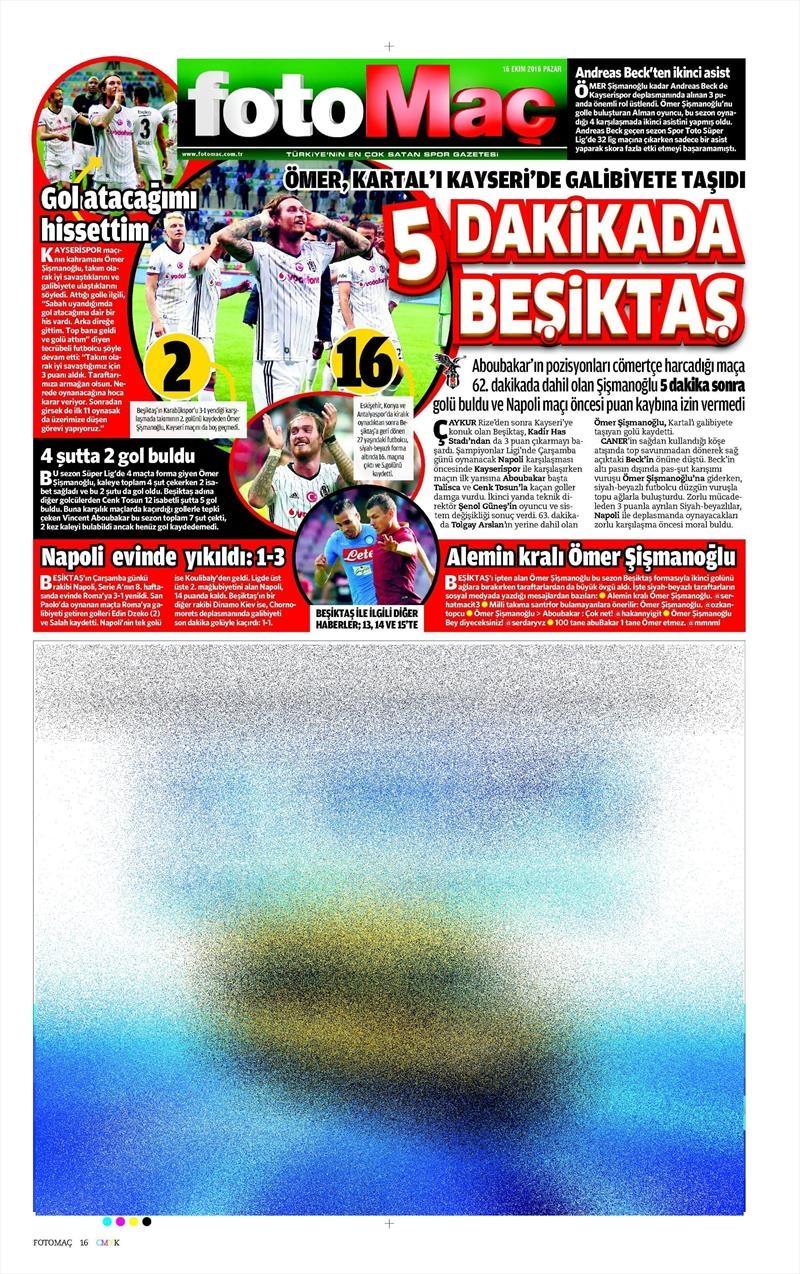 16 Ekim 2016 | Gazetelerin Beşiktaş Manşetleri 14