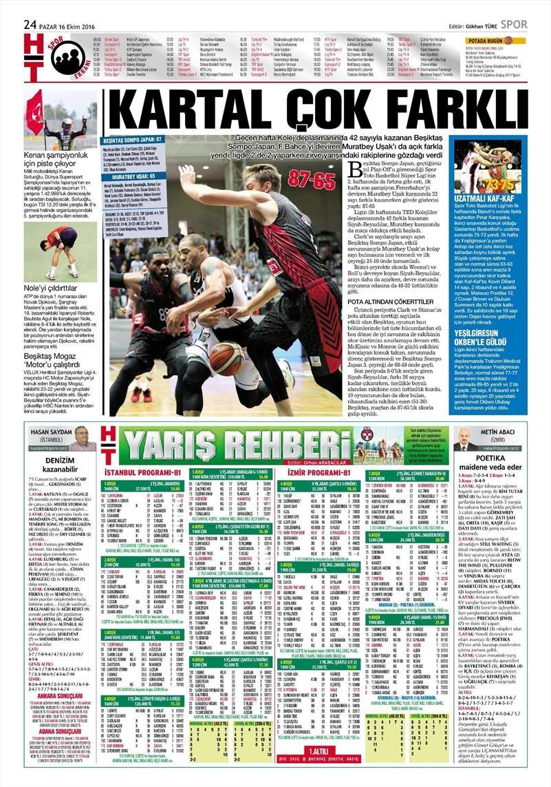16 Ekim 2016   Gazetelerin Beşiktaş Manşetleri 15