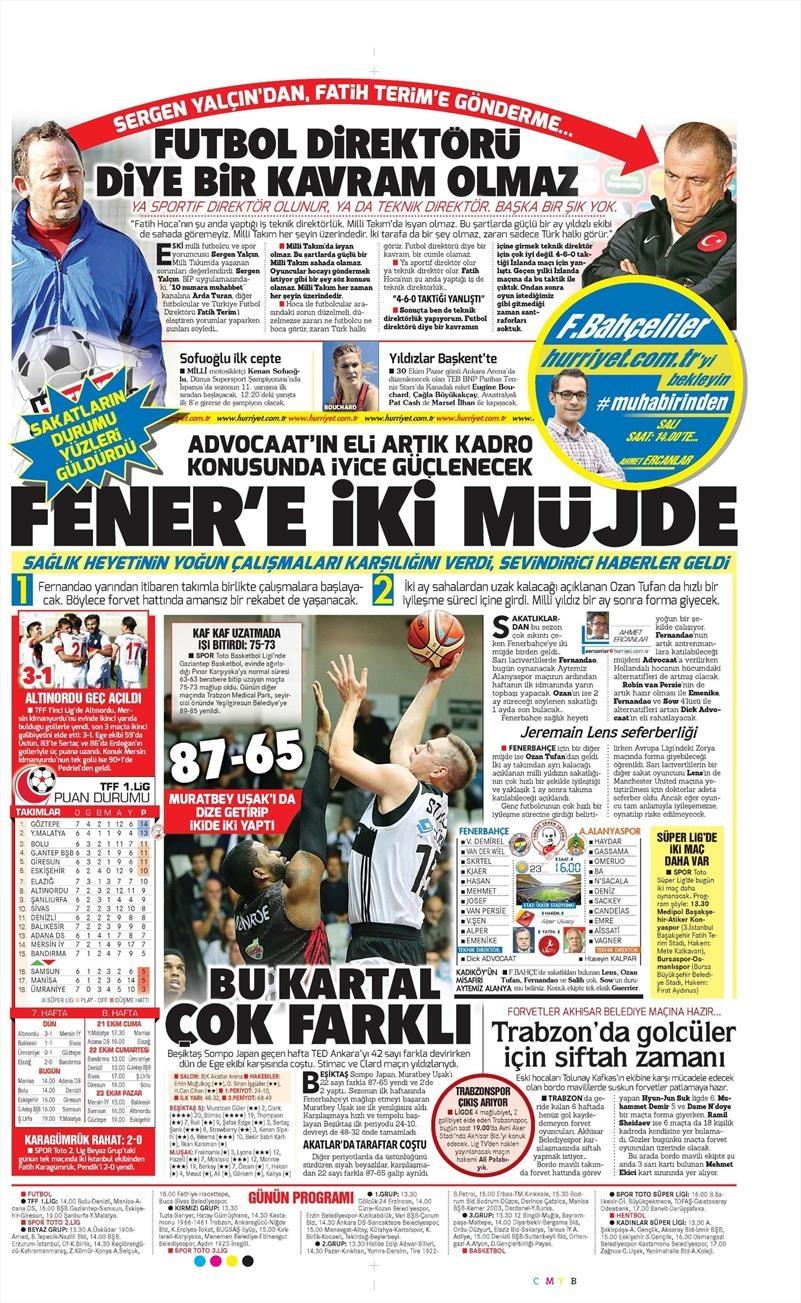 16 Ekim 2016   Gazetelerin Beşiktaş Manşetleri 19