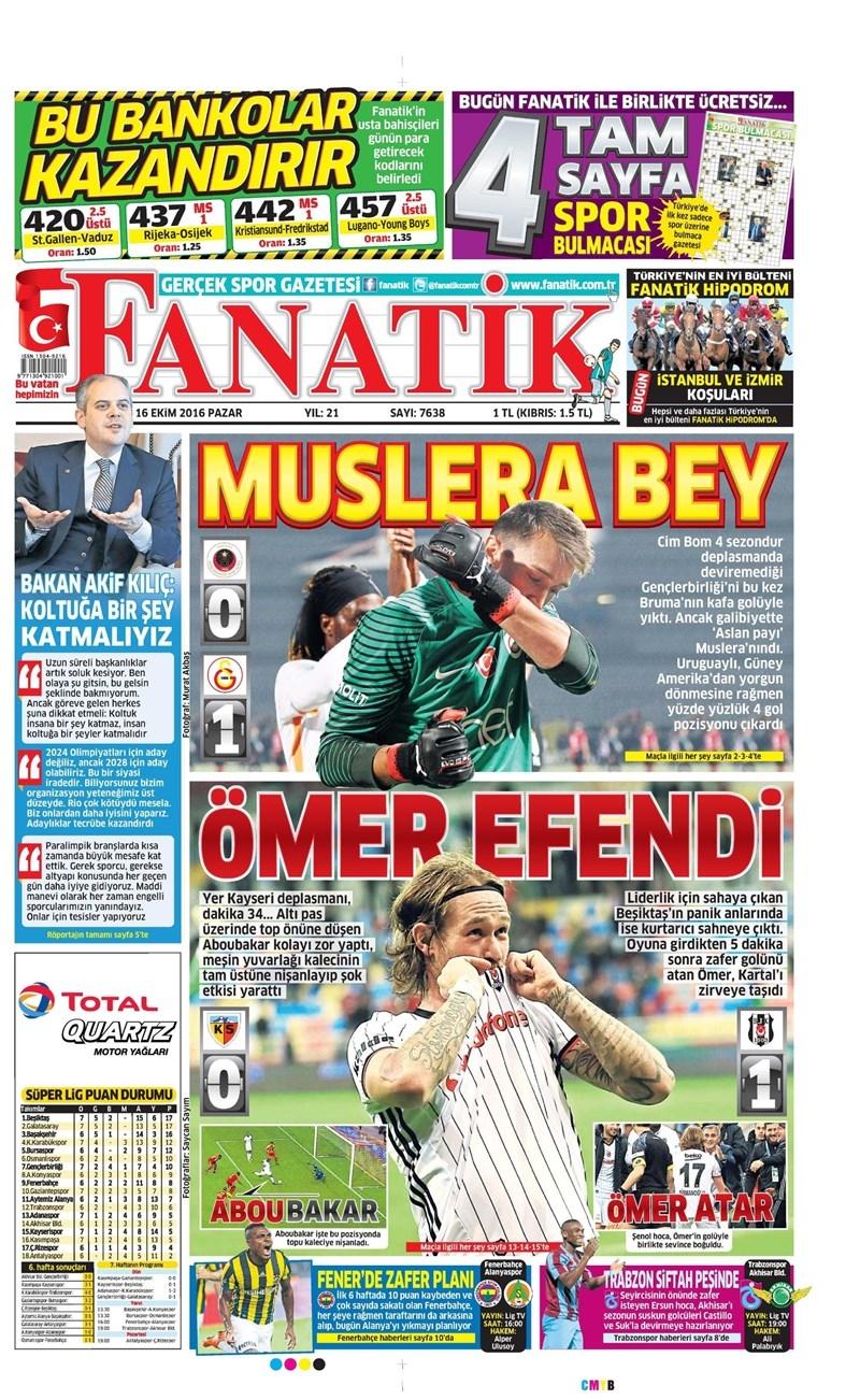 16 Ekim 2016 | Gazetelerin Beşiktaş Manşetleri 2