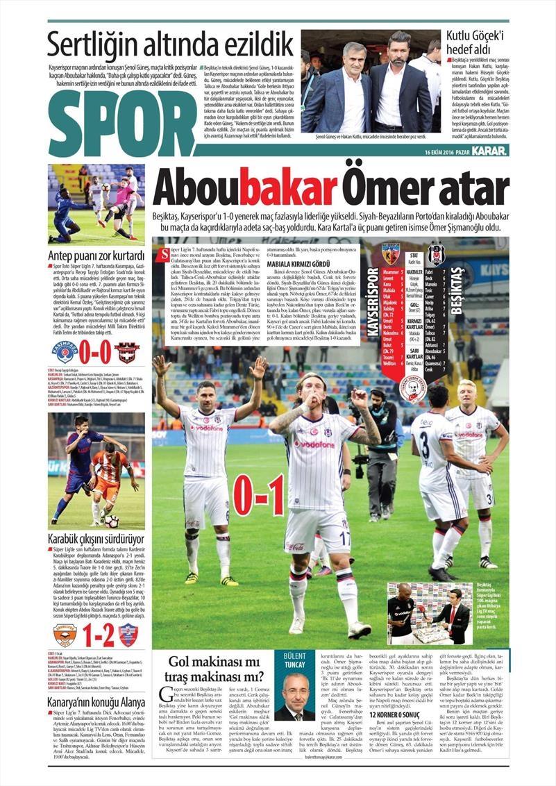 16 Ekim 2016 | Gazetelerin Beşiktaş Manşetleri 21
