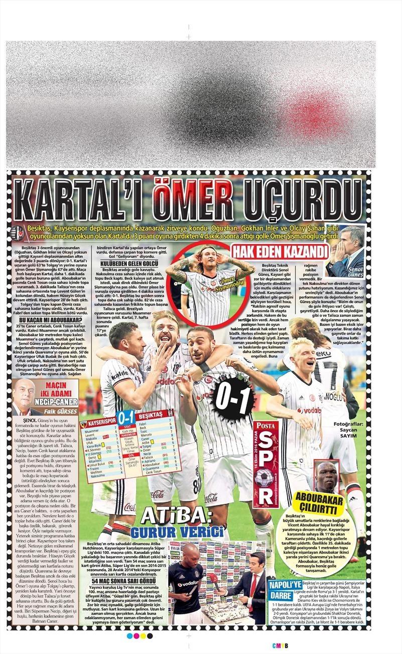 16 Ekim 2016 | Gazetelerin Beşiktaş Manşetleri 23