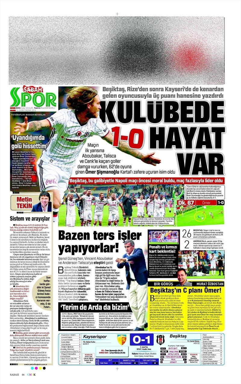 16 Ekim 2016 | Gazetelerin Beşiktaş Manşetleri 24