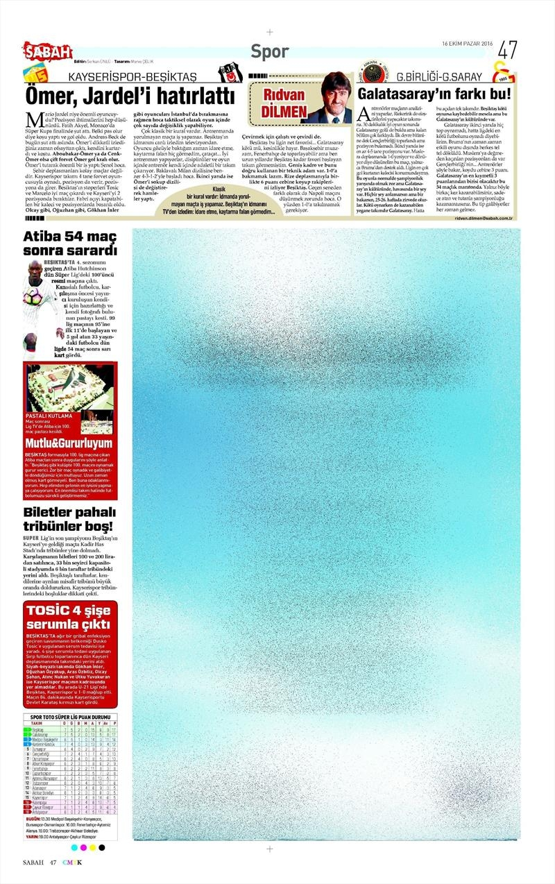 16 Ekim 2016 | Gazetelerin Beşiktaş Manşetleri 25