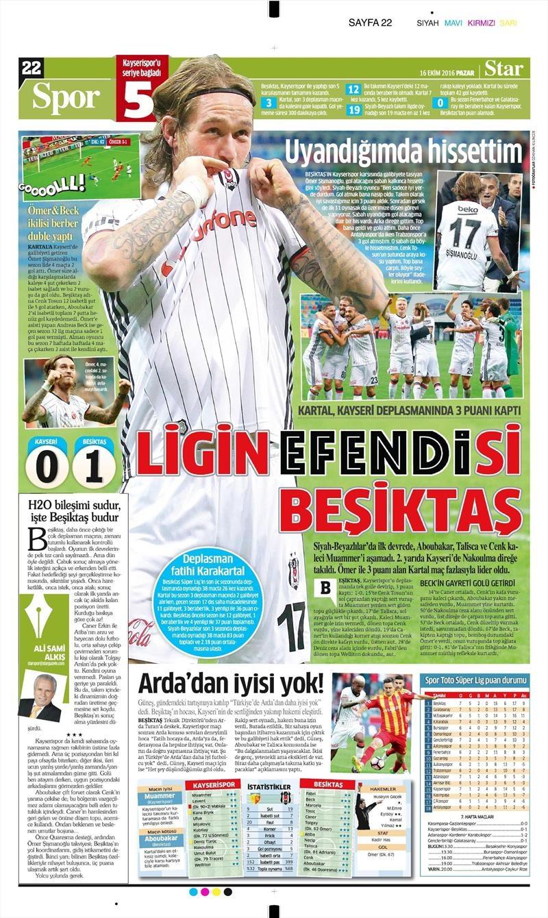 16 Ekim 2016   Gazetelerin Beşiktaş Manşetleri 26