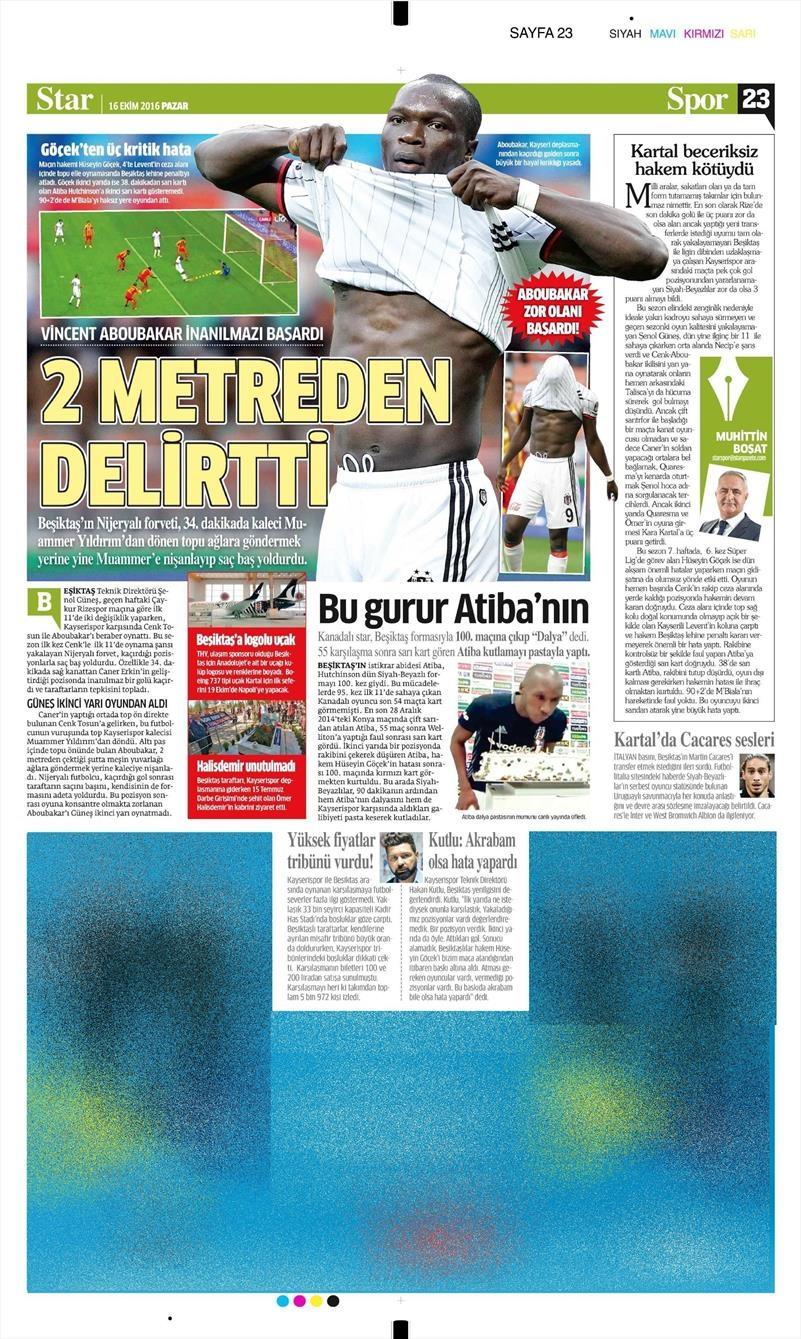 16 Ekim 2016   Gazetelerin Beşiktaş Manşetleri 27