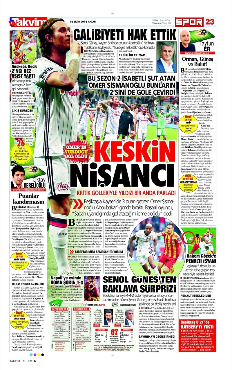 16 Ekim 2016 | Gazetelerin Beşiktaş Manşetleri 28