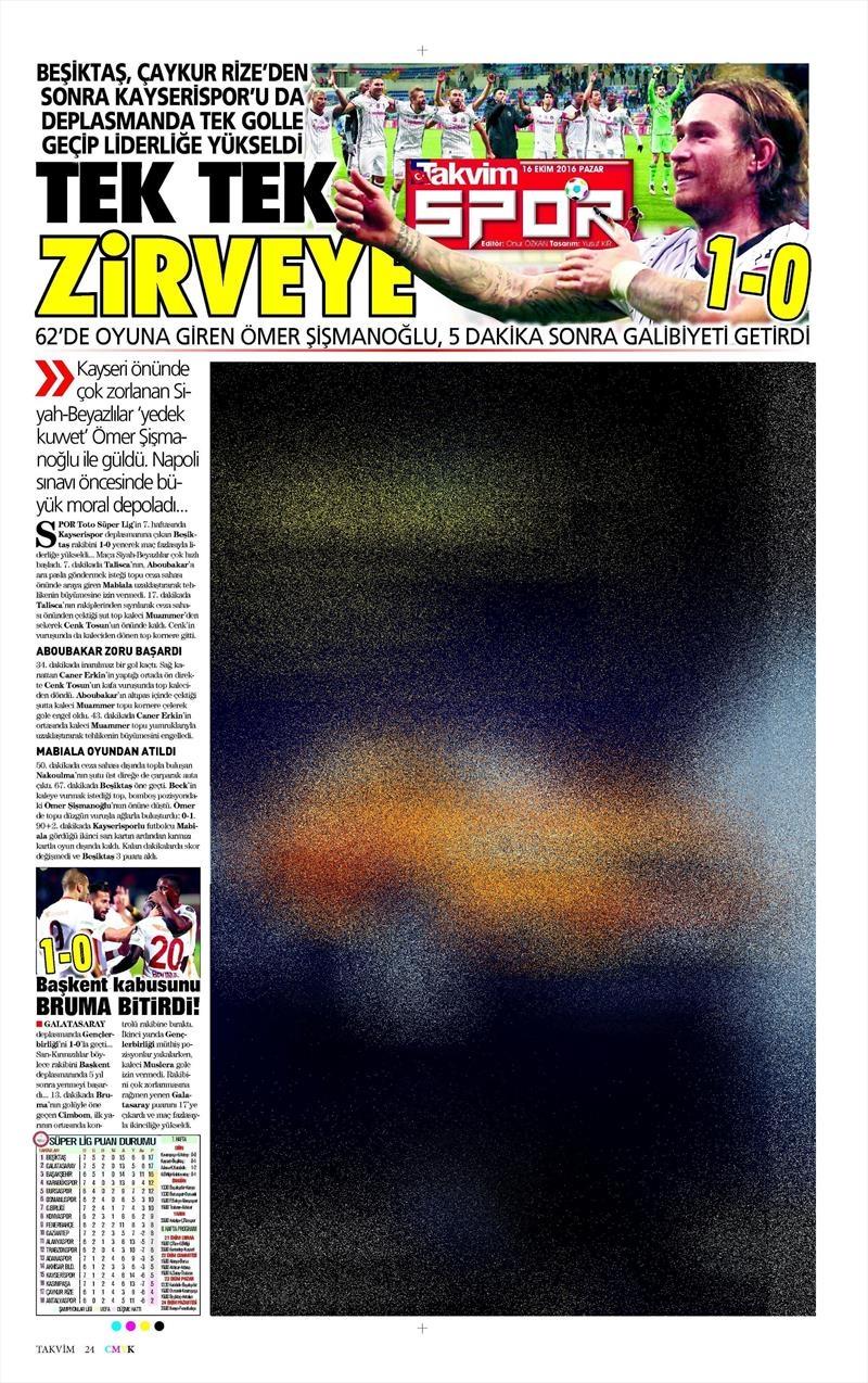 16 Ekim 2016   Gazetelerin Beşiktaş Manşetleri 29