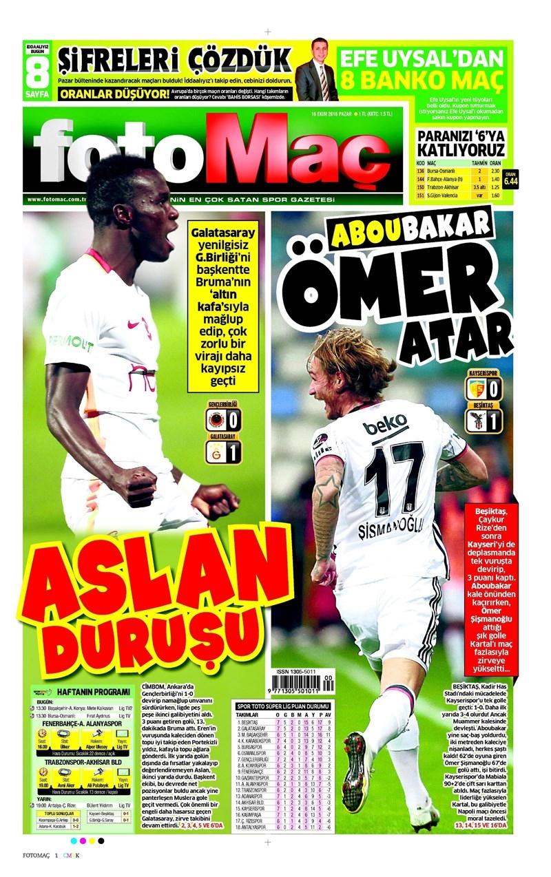 16 Ekim 2016 | Gazetelerin Beşiktaş Manşetleri 3
