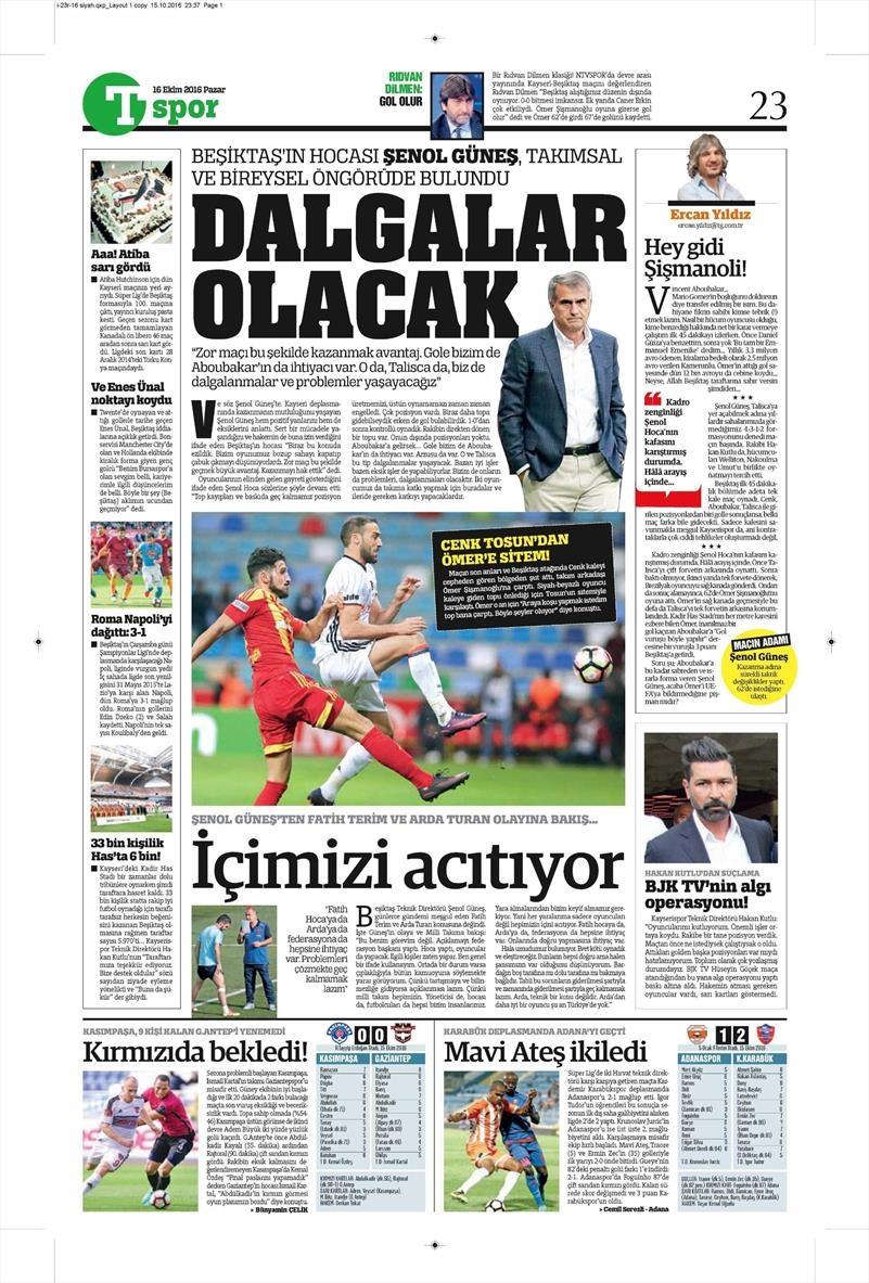16 Ekim 2016   Gazetelerin Beşiktaş Manşetleri 31
