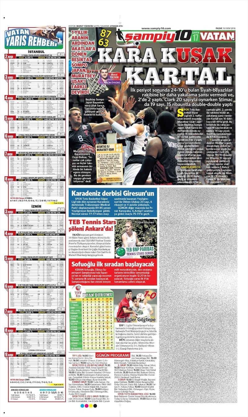 16 Ekim 2016 | Gazetelerin Beşiktaş Manşetleri 32
